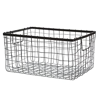 Wire Storage Basket, Bin for Shelves in Kitchen, Pantry, Linen Closet, Laundry Room, by HomeSimple (1, Black)