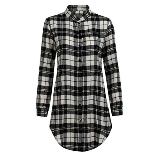 OSYARD Damen Sommer Herbst Lässiges Dirndl Minikleid Plaid Shirtkleider Langarm Etuikleid