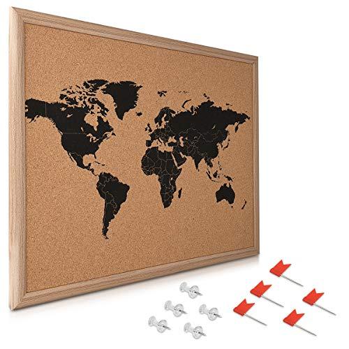 Navaris Kork Pinwand Weltkarte Tafel - 50,8x40,7cm Pin Board Korkwand mit Stecknadeln Fahnen Montageset - Pinnwand Memoboard Korktafel mit Rahmen