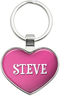 Graphics and More Metal Keychain Key Chain Ring Pink I Love Heart Names Male S Sher - Steve