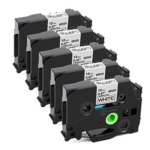 Label KINGDOM Kompatible Schriftband als Ersatz für Brother P-Touch 12mm 0,47 Tape TZe-231 TZ-231, für PTouch Beschriftungsgerät PT-1000 PT-1010 PT-H105 PT-1005 PT-D400 PT-D600, Schwarz auf Weiß, 5x