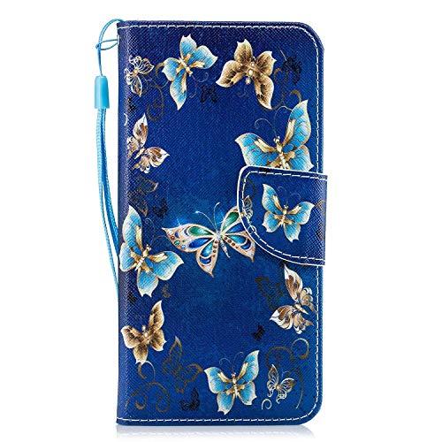 Carcasa iPhone SE 2020 / iPhone 8 / 7,Funda iPhone 8 Carcasa Flor de mariposa Pintura de Dibujo de Tipo Libro con Ranuras Tarjetas de Soporte Solapa Cierre magnético Case,HX Gold Blue Butterfly