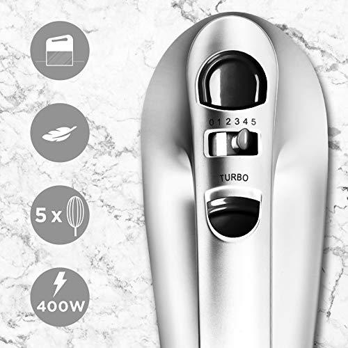 Duronic HM4 SR Batteur à main électrique 400W 5 vitesses avec fonction Turbo – Compartiment de...