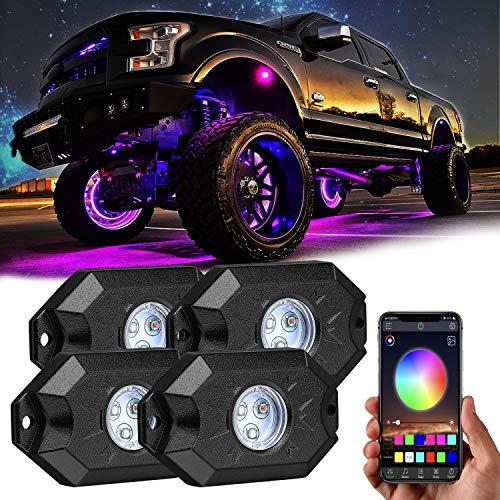 Rgb Led Rock Lights, Yvoone-Auto 4 Pods Underglow Multicolor Neon Light with App Control, Timing Light Function, Flashing Music Mode for Offroad Truck