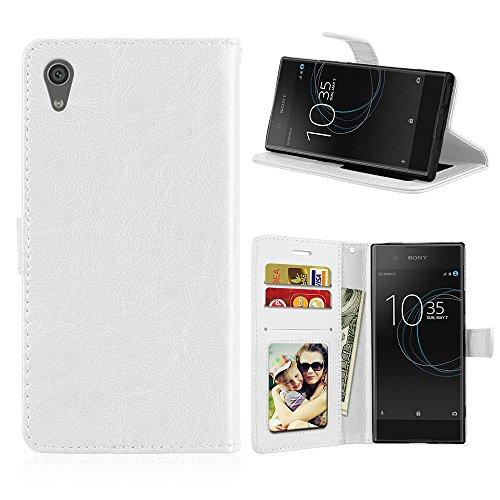 Fatcatparadise Kompatibel mit Sony Xperia Z6 / XA1 Hülle + Bildschirmschutz, Flip Wallet Hülle mit Kartenhalter & Magnetverschluss Halterung PU Leder Hülle handyhülle (Weiß)