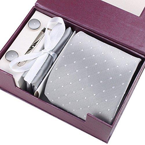 HappinessPlus(TM)結婚式 ネクタイ ネクタイピン ポケットチーフ カフス 4点 セット ビジネス/結婚式/二次会/パーティー 収納ボックス付き グレー 【HPS-41199】
