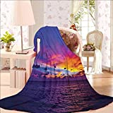 40' W x 50' L Ocean Flannel Printed for Couch Cover Dreamlike Sunset in The Ocean Aurora Borealis Beyond Pacific Sea Atmosphere Photo Purple Blue