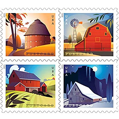 Barn Postcard Forever Postage Stamps Sheet of 20 US Postal First Class American History Wedding Celebration Anniversary (20 Stamps).New