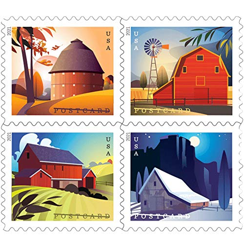 Barn Postcard Forever Postage Stamps Coil of 100 US Postal First Class American History Wedding Celebration Anniversary (100 Stamps)