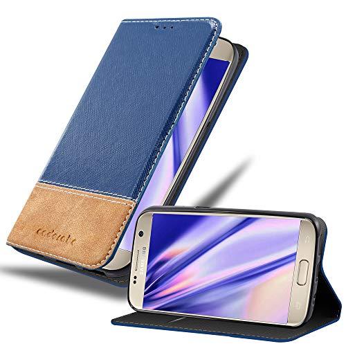 Cadorabo Funda Libro para Samsung Galaxy S7 en Azul MARRÓN – Cubierta Proteccíon con Cierre Magnético, Tarjetero y Función de Suporte – Etui Case Cover Carcasa