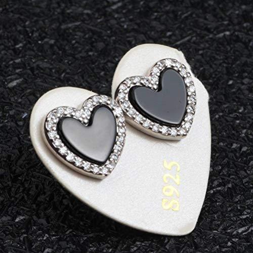 LOt S925 Pendientes de Plata Esterlina Moda Micro Incrustaciones de Ágata Negra Forma de Amor Oreja de MujerComo se muestra
