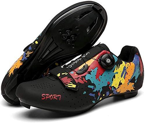 CHUIKUAJ Zapatillas de Ciclismo de Carretera para Hombre Zapatillas de Spinning con Zapatilla Peloton de Cala Compatible con SPD y Delta para Hombre,Black-37EU