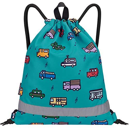 LIVACASA Turnbeutel Jungen Wasserdicht Sportbeutel mit Namen Mädchen Reflektierend Sportsack für Kinder Turnsack Kindergarten Gefülltet mit Innentasche Schuhbeutel für Kinder Auto