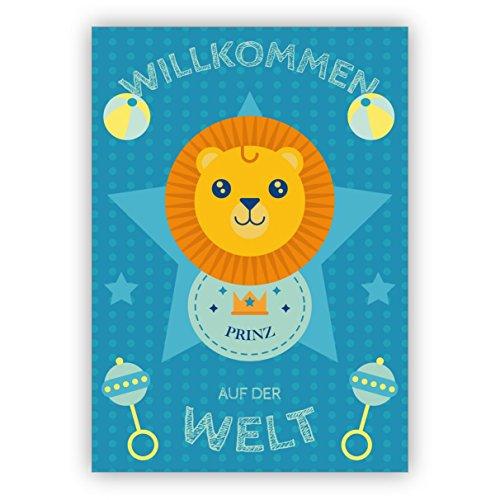 Schattige baby wenskaart voor de geboorte van een jongen met leeuwen: Welkom op de wereld Prins • Liefdevolle welzijn, wenskaart, geboortekaart voor moeder en kind voor medewerkers, familie 4 Grußkarten