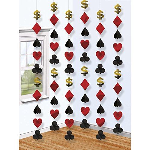 NET TOYS 6 Casino Deko Girlanden 6 x 213 cm, Motiv 9 x 9 cm Las Vegas Ketten Raumdeko Poker Dekoration Karten Dekoketten