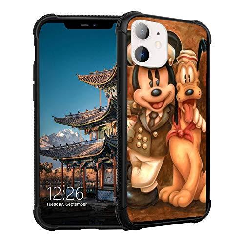 DISNEY COLLECTION Carcasa para iPhone 11, diseño de Mickey y su perro, color negro TPU antigolpes