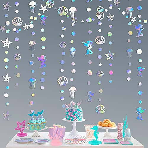 52 Ft Iridescent Mermaid Garland with Jellyfish Seashell Starfish Bubble Holographic Paper Streamer for Little Mermaid Rainbow Theme Birthday Bachelorette Baby Shower Under The Sea Party Decorations