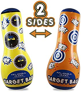 J&A's Inflatable Dudes Target Bag 47 Inches -Double-Sided Ninja & Dinosaur Bop Bag   Kids Punching Bag  Inflatable Toy  Boxing - Premium Vinyl- Base is ALREADY Filled with Sand for Bounce-Back Action!