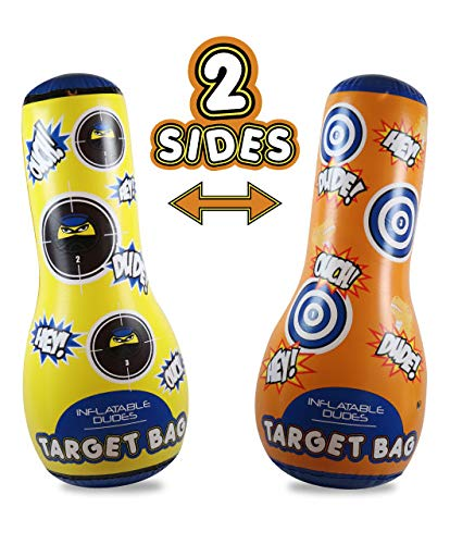 J&A's Inflatable Dudes Target Bag 47 Inches -Double-Sided Ninja & Dinosaur Bop Bag | Kids Punching Bag| Inflatable Toy| Boxing - Premium Vinyl- Base is ALREADY Filled with Sand for Bounce-Back Action!