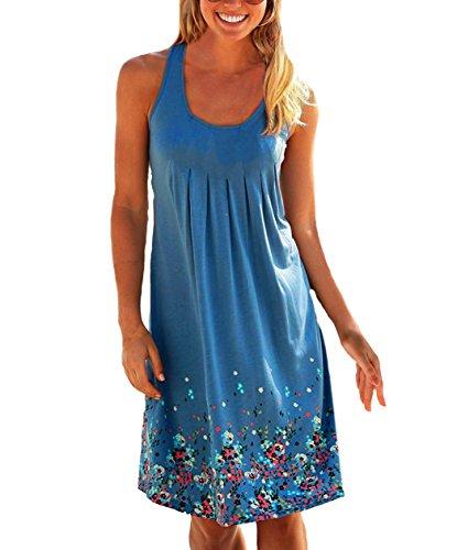 Lantch Damen Sommerkleid ohne ärmel Knielang Strandkleid Elegant Partykleid cocktailkleid Spitze Druck A-Linie Kleider, Blau , M