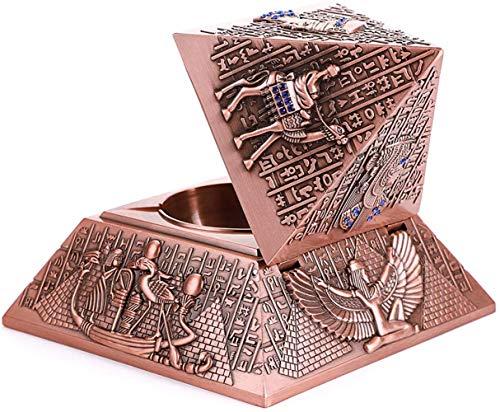 Paelf Retro Prueba de Viento cenicero 3D estéreo Alivio pirámide cenicero de Concha Egipcio del hogar,Red