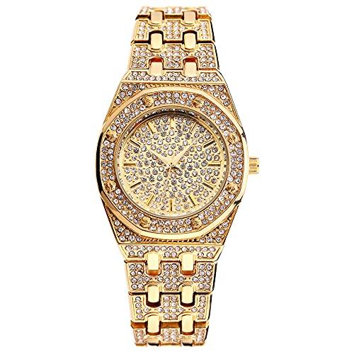 KLFJFD Reloj Impermeable De Diamantes De Imitación Estrellado De Lujo Ligero A La Moda para Mujer, Reloj De Cuarzo Informal Creativo con Temperamento para Niña