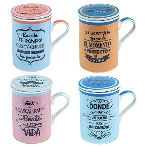 Decor And Go Mugs Con Filtro Diferentes Frases Incluye 4 Unidades Cocina Mugs Y Vasos Colección Te