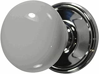 White Porcelain Door Knob Set with Victorian Rosette in Polished Chrome (Passage (Hall/Closet)