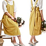 Cotton Linen Cross Back Apron for Women with Pockets for Cooking Cleaning Yellow without Waist Ties