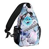 MOSISO Sling Backpack,Travel Hiking Daypack Pattern Rope Crossbody Shoulder Bag, Ink-wash Painting