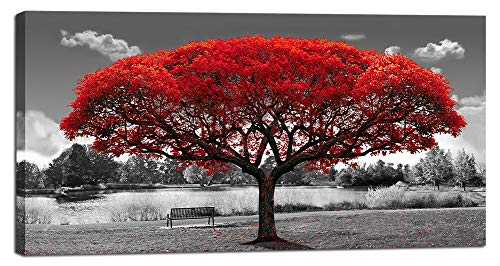 Large Black and White Canvas Wall Art for Living Room Red Tree Canvas Print