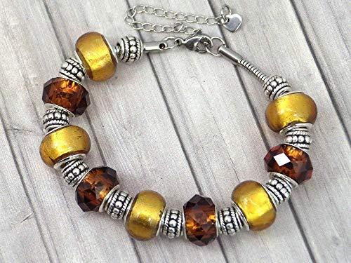 Thurcolas Damen Charms Armband Manhattan Modell Edelstahl mit Glas Gold farbe Perlen