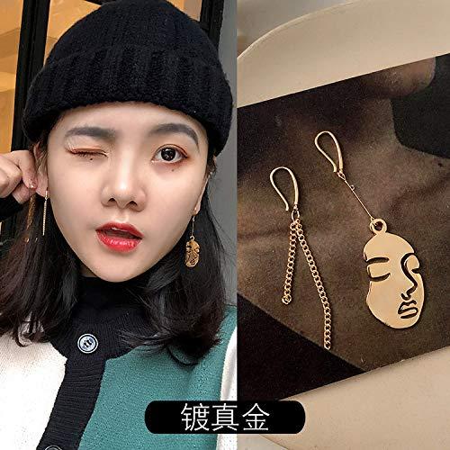 Chwewxi Teenage meisje leuk grappig grappig grappig gezicht oorbellen temperament kort haar oorbellen oorsieraden, nep gezicht ketting (geplateerd goud)