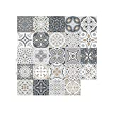 24 pegatinas de azulejos retro marroquíes, estilo autoadhesivo de mosaico, azulejos de pared, pegatinas de azulejos, azulejos de bricolaje, para casa, cuarto de baño, cocina, 20 x 20 cm