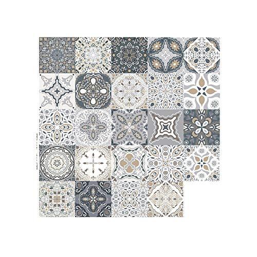 25 Stück Fliesenaufkleber im Retro Mosaik marokkanischen Stil,DIY Selbstklebende Fliesen überträgt Aufkleber für Küche Badezimmer Home Decor (10x10cm)