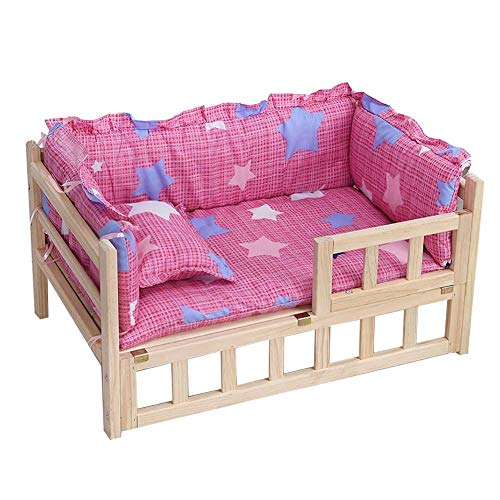 JLXJ Wooden Pets Dogs Bed with Guardrail, Winter Soft Mattress+cushion, for Large Medium Small Dogs, Indoor Elevated Orthopedic Detachable Pet Kennel (Color : Pink, Size : Small)