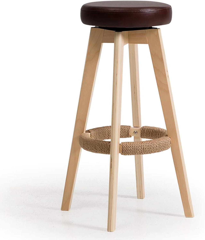 Bar Chair Bar Chair High Stand Household Solid Wood Bar Stand Modern Simple redary Creative European Chair 74 cm High 6 Carl Artbay Strong and Practical