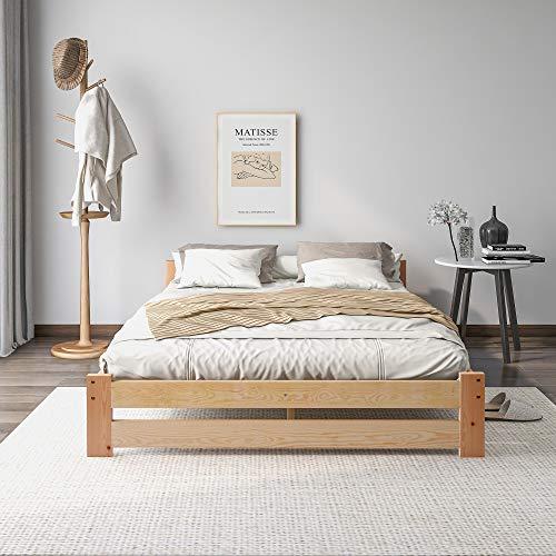 Harper Bright Designs Solide Massivholzbett Futonbett Massivholz Natur Bett aus mit Kopfteil und Lattenrost, Natur (140x200cm)
