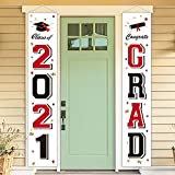 Graduation Decorations 2021 Red and Black White - Congrats Grad Class of 2021 Banners Yard Sign - Party Supplies Decor for High School College Preschool Kindergarten