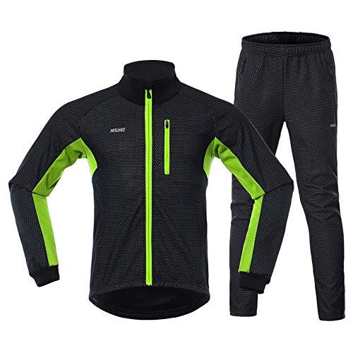 RMane Herren Fahrradbekleidung Set Fleece RadtrikotLangarm Winddicht Radjacke + Radhose 3D Gepolsterte M - 2XL (Grün, L)