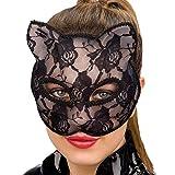 Maschera gatto catwoman nera in plastica con rivestimento pizzo