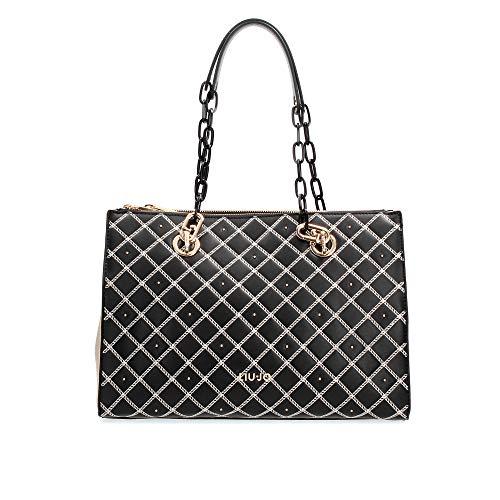 Liu Jo Damen Handtasche - Double Zip Satchel, Logo, Rauten-Muster 34x26x16cm (HxBxT) (Schwarz)