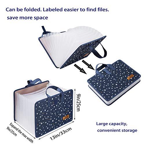 JIEQI Expanding File Folder Document Organizer, 13 Pockets File Folders/Expandable Filing Folders with Handle A4 Size Accordion (Blue) Photo #7