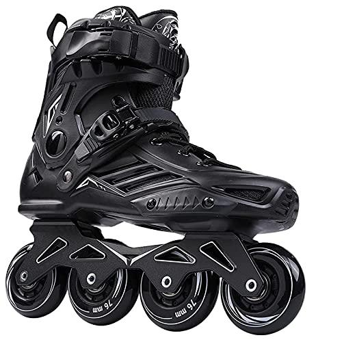 Herren Damen Inliner Inlineskates | ABEC7 Chrome Kugellager | Halterung aus Aluminiumlegierung | Unisex Fitness Skates für Erwachsene | 35-47 Schuhgröße | Schwarz | Weiß,Schwarz,46