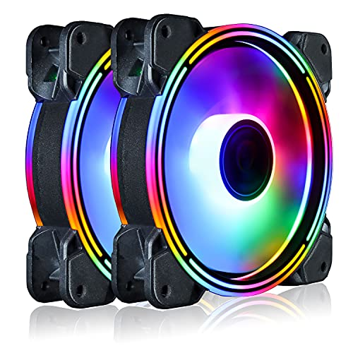 Conisy 120mm RGB PC Case Fan,Rainbow LED Series Super Silent Efficient Cooling Fan for Computer case - Dual Pack (Colorful)