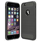 Anjoo Hülle Kompatibel mit iPhone 6/6s, Carbon Fiber Texture-Inner Shock Resistant-Weich und Flexibel TPU Cover Case Kompatibel mit iPhone 6/6s, Grau