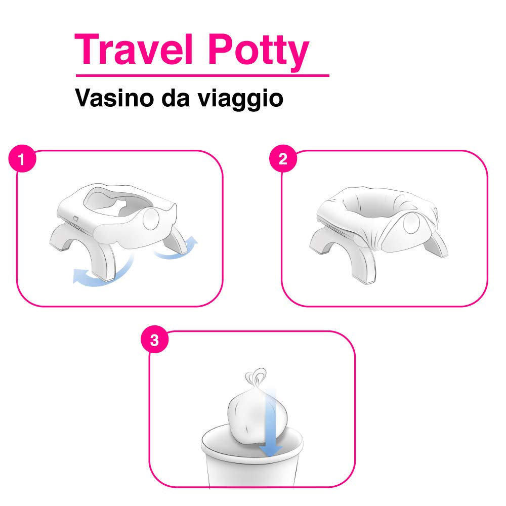 OKBABY On The Spot 3 in 1 Travel Potty Seat - Compact & Lightweight Design - Features Non-Slip Rubber Base - Removable Inner Bowl - Toilet Training Seat for Toddlers & Children, Pink
