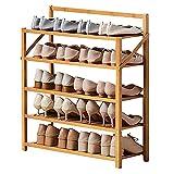 Zapatero 5 Niveles Plegable Bambú Zapatero, 20 Pares Estante De Zapatos Organizador De Almacenamiento, Multicapa De Pie Soporte De Planta, Para Piso De Armario Puerta Principal ( Color : Wood color )