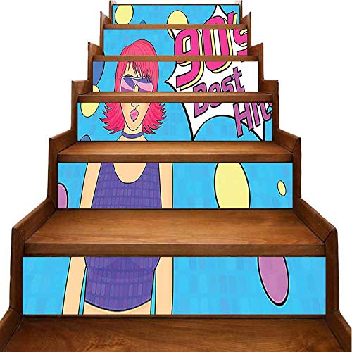 Floor Stair Art Stickers Disco Woman Wearing Glasses and Bright Colored Hair with 90s Best Hits Stair Riser backsplash Refurbished Stair Treads, W39.3 x H7 inch