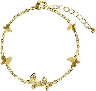 سوار فراشة كريستال منع الحساسية 925 فضة سوار الزفاف للنساء الأزواج هدايا مجوهرات اليد